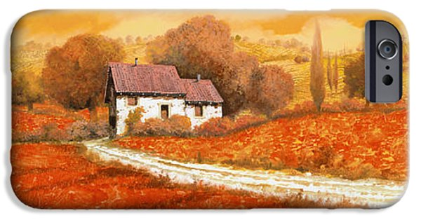 Vineyard Landscape iPhone Cases - Rosso Papavero iPhone Case by Guido Borelli