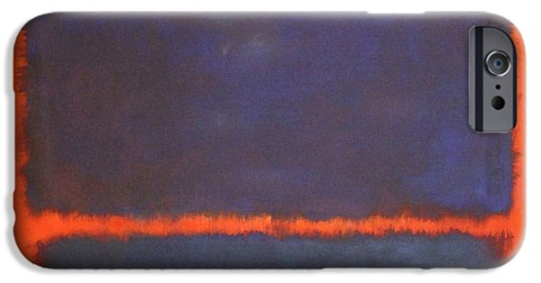 Cora Wandel iPhone Cases - Rothkos Blue Orange Red iPhone Case by Cora Wandel