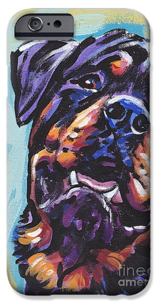 Rottweiler Puppy iPhone Cases - Rottie Power iPhone Case by Lea