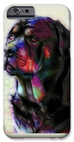 Police iPhone Cases - Rottweiler iPhone Case by Alexey Bazhan