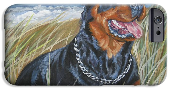 Rottweiler iPhone Cases - Rottweiler at the Beach iPhone Case by Lee Ann Shepard