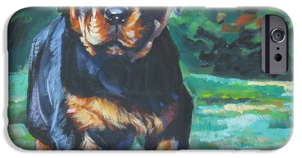 Rottweiler iPhone Cases - Rottweiler Pup iPhone Case by Lee Ann Shepard