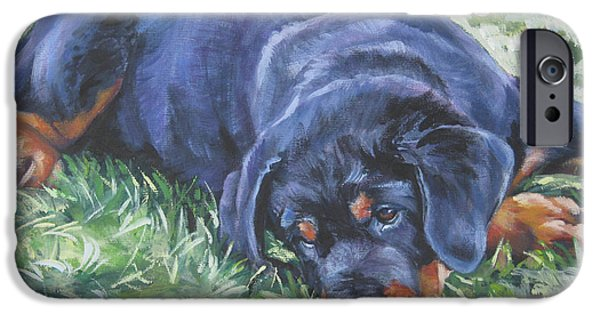 Rottweiler iPhone Cases - Rottweiler Puppy iPhone Case by Lee Ann Shepard
