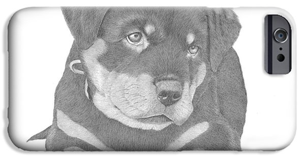 Puppies iPhone Cases - Rottweiler Puppy iPhone Case by Patricia Hiltz