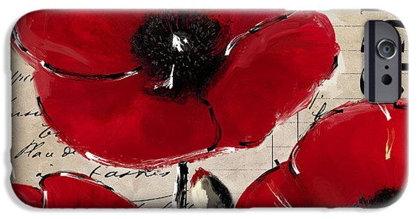 California Poppies iPhone Cases - Rouge I Poppy iPhone Case by Mindy Sommers