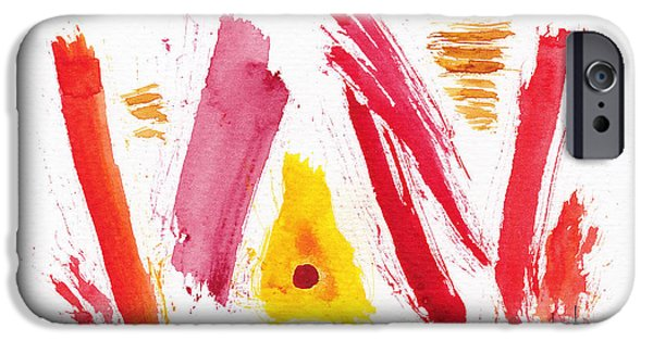 Alizarin Crimson iPhone Cases - Rough Around The Edges Abstract #6 iPhone Case by Pat Katz