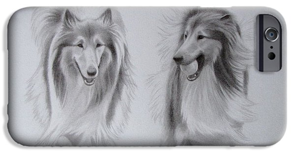 Dog And Tennis Ball iPhone Cases - Rough Collie Sisters iPhone Case by Karen Wood