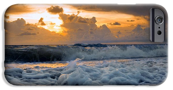 Turbulent Skies iPhone Cases - Rough surf and golden sunset. iPhone Case by Gene Camarco