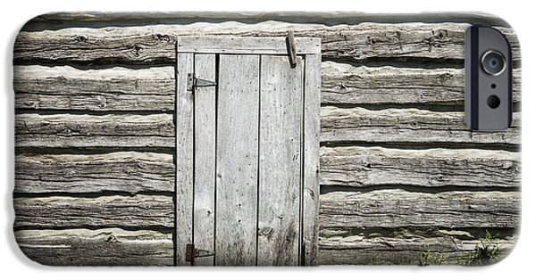 Design iPhone Cases - Rough Wood Door on Log Building iPhone Case by Donald  Erickson