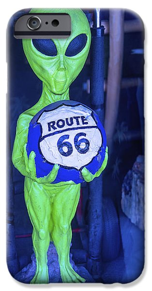 Strange iPhone Cases - Route 66 Alien iPhone Case by Garry Gay