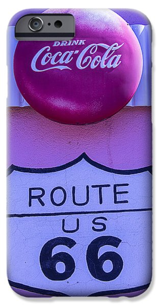 Coca-cola Signs iPhone Cases - Route 66 Coca Cola Sign iPhone Case by Garry Gay