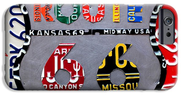 Automotive iPhone Cases - Route 66 Highway Road Sign License Plate Art iPhone Case by Design Turnpike