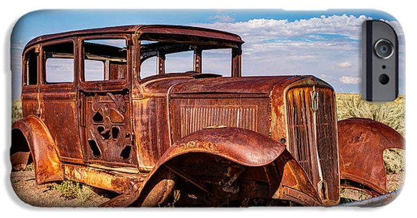 Petrified Forest Arizona iPhone Cases - Route 66 Studebaker iPhone Case by James Marvin Phelps