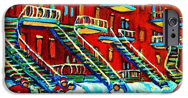 Afterschool Hockey Montreal Paintings iPhone Cases - Rowhouses And Hockey iPhone Case by Carole Spandau