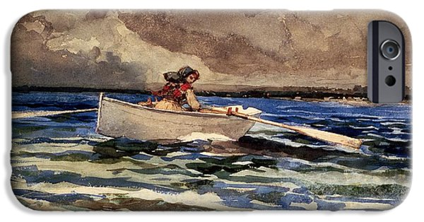 Boat iPhone Cases - Rowing at Prouts Neck iPhone Case by Winslow Homer