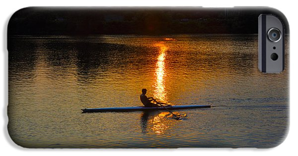 Row Boat Digital iPhone Cases - Rowing at Sunset 2 iPhone Case by Bill Cannon