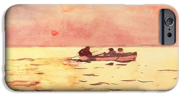 Setting Sun iPhone Cases - Rowing Home iPhone Case by Winslow Homer