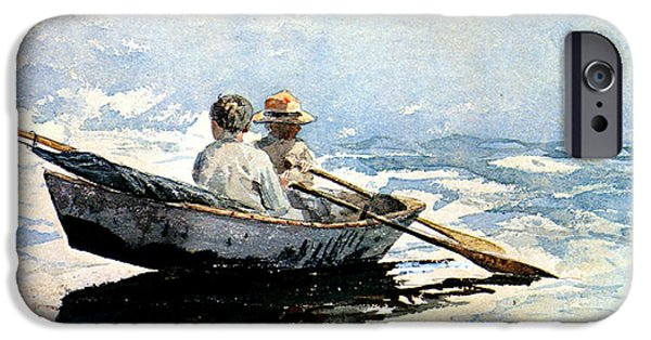 Winslow Homer iPhone Cases - Rowing The Boat iPhone Case by Winslow Homer