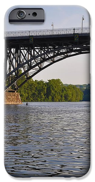 Rowing under the Strawberry Mansion Bridge iPhone Case by Bill Cannon