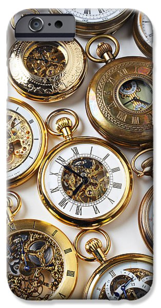 Chronometer iPhone Cases - Rows Of Pocket Watches iPhone Case by Garry Gay