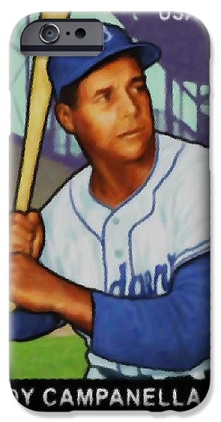 Baseball Uniform Paintings iPhone Cases - Roy Campanella iPhone Case by Lanjee Chee