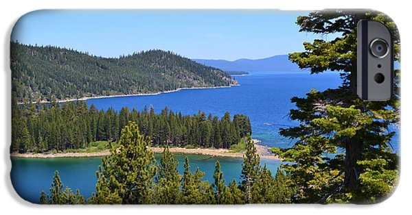 California Tourist Spots iPhone Cases - Royal Blue Lake Tahoe Vista iPhone Case by Cherie Cokeley