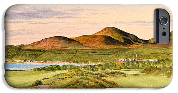 Linked Paintings iPhone Cases - Royal County Down Golf Course iPhone Case by Bill Holkham