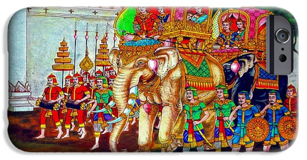 Elephants iPhone Cases - Royal Day Out iPhone Case by Ian Gledhill