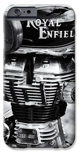 Monochrome iPhone Cases - Royal Enfield Bullet 500 Monochrome iPhone Case by Tim Gainey