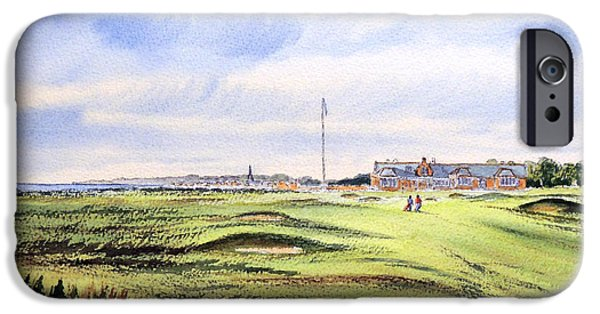 Golf Paintings iPhone Cases - Royal Troon Golf Course iPhone Case by Bill Holkham