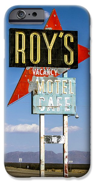 Sign iPhone Cases - Roys Motel ande Cafe iPhone Case by Denise Dube
