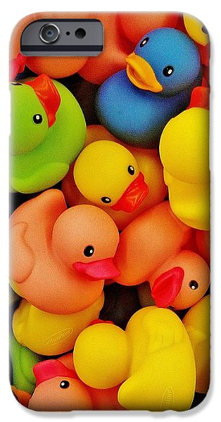 Concept Art iPhone Cases - Rubber Duckies iPhone Case by Daniel Thompson
