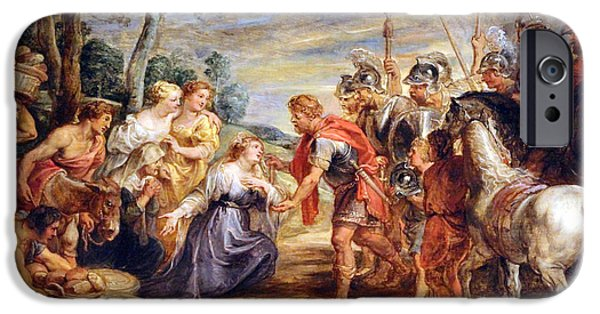 Cora Wandel iPhone Cases - Rubens The Meeting Of David And Abigail iPhone Case by Cora Wandel