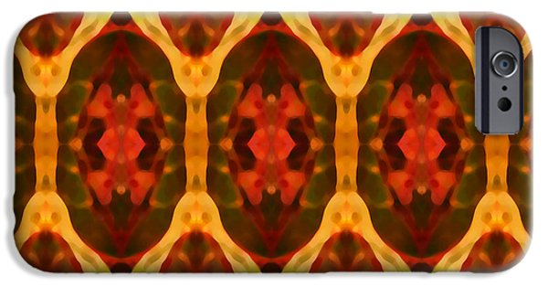 Abstract Digital Paintings iPhone Cases - Ruby Glow Pattern iPhone Case by Amy Vangsgard