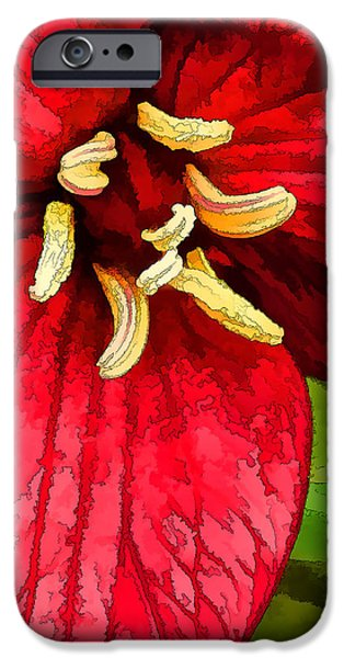 Best Sellers -  - Floral Digital Art Digital Art iPhone Cases - Ruby Red Trillium iPhone Case by Bill Caldwell -        ABeautifulSky Photography