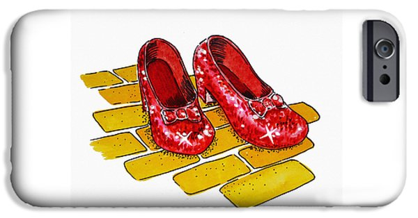 Shoe iPhone Cases - Ruby Slippers The Wizard Of Oz  iPhone Case by Irina Sztukowski