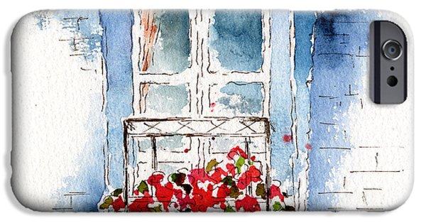 Pause iPhone Cases - Rue Bernardine Window iPhone Case by Pat Katz