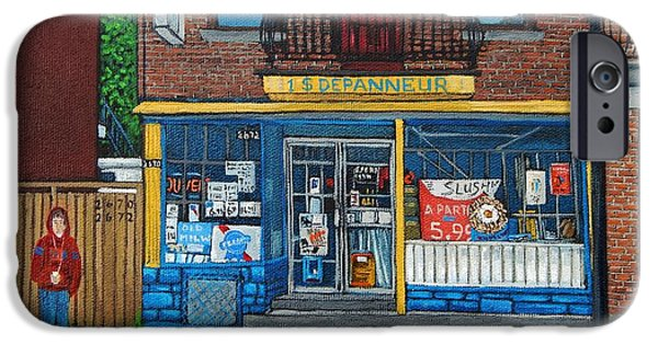 Streets Of Montreal iPhone Cases - Rue Du Centre Depanneur iPhone Case by Reb Frost