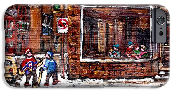 Hockey Paintings iPhone Cases - Rue Notre Dame Montreal Winter Street Scene Paintings Dilallo Burger Hockey Scenes Canadian Art iPhone Case by Carole Spandau