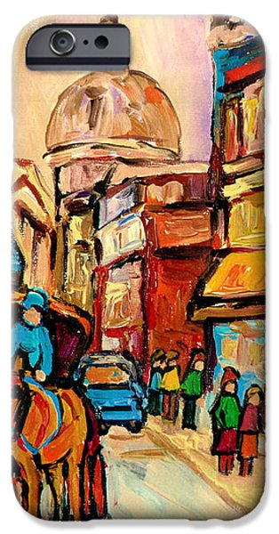 RUE ST. PAUL OLD MONTREAL STREETSCENE iPhone Case by CAROLE SPANDAU
