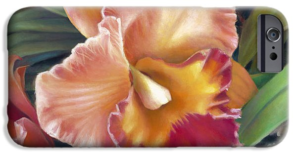 Seductive iPhone Cases - Ruffled Peach Cattleya Orchid iPhone Case by Nancy Tilles