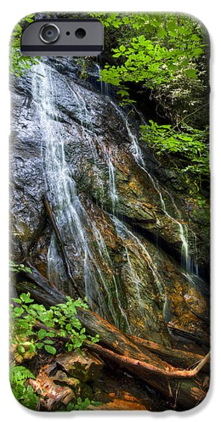 Smokey Mountains iPhone Cases - Rufus Morgan Falls iPhone Case by Debra and Dave Vanderlaan