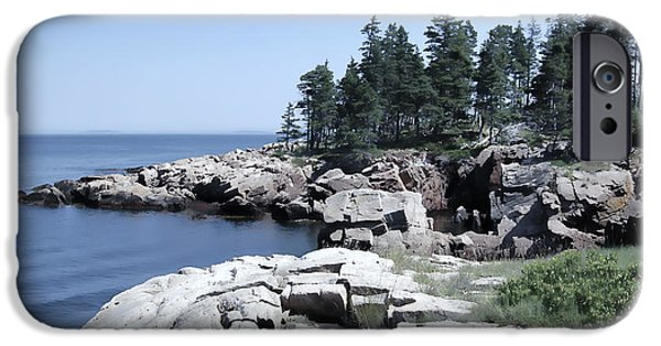 Rocky Maine Coast iPhone Cases - Rugged Maine Coastline iPhone Case by Daniel Hagerman