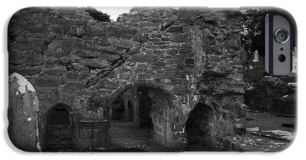 Headstones iPhone Cases - Ruins at Donegal Abbey Donegal Ireland iPhone Case by Teresa Mucha