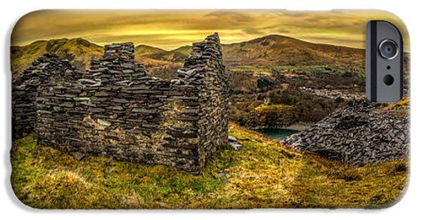 Dilapidated Digital Art iPhone Cases - Ruins of Snowdonia Panorama iPhone Case by Adrian Evans