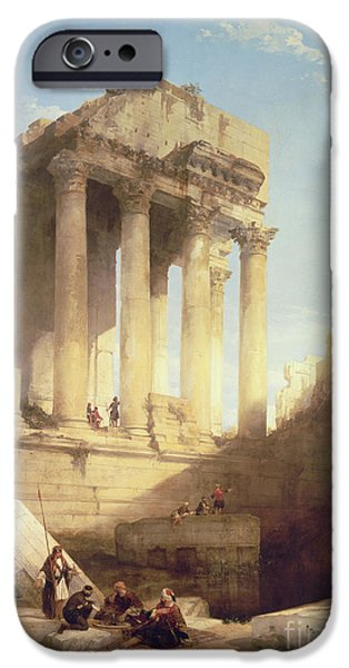 Ruins iPhone Cases - Ruins of the Temple of Bacchus iPhone Case by David Roberts