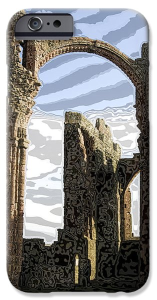 Ruin Glass iPhone Cases - Ruins on the Holy Island iPhone Case by Carl Purcell