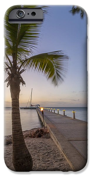 Sailboat Ocean iPhone Cases - Rum Point Pier at Sunset iPhone Case by Adam Romanowicz