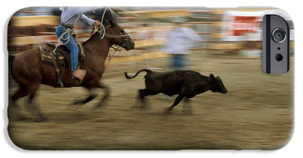 Roping Horse iPhone Cases - Run Little Doggie iPhone Case by Jerry McElroy