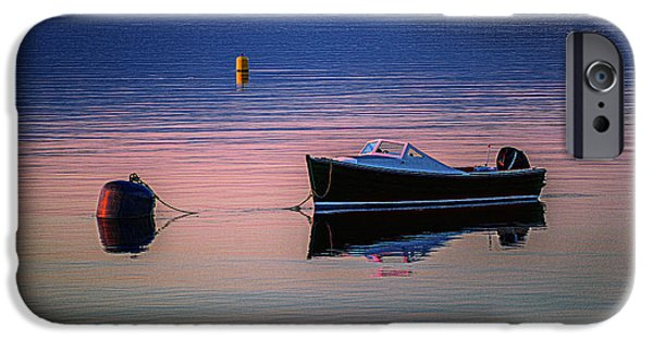Maine iPhone Cases - Runabout Moored at Sunset iPhone Case by Marty Saccone